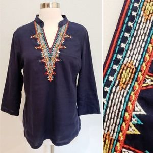 Linen Embroidered Tunic Top Nurture Blue Small